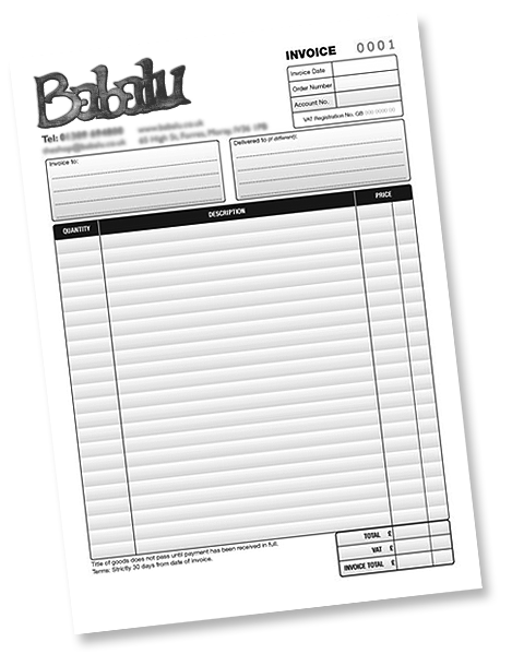 Stationery design and printing based in peterborough for Invoice pads personalized