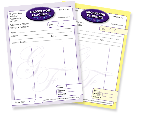 Stationery Design And Printing Based In Peterborough Cambridgeshire - Business invoice pads